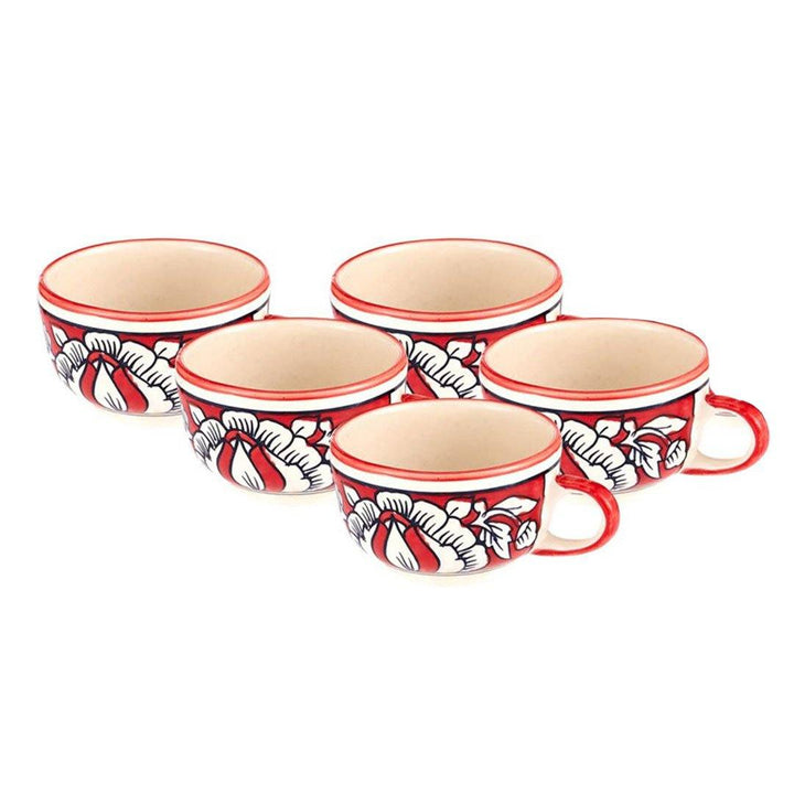 Red Tea Cups - Set of 5