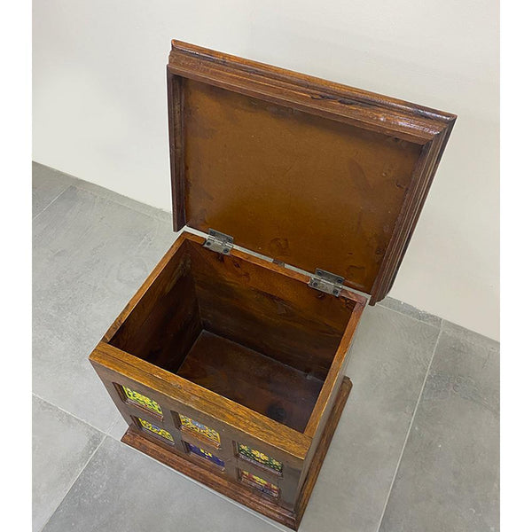 Wooden Storage Box With Tile Fittings - Min Ayn Home Home Decoration