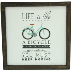 Life Is A Bicycle Wooden Wall Frame