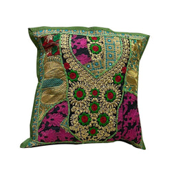 Textile Cushion Cover - Floral Green and Pink