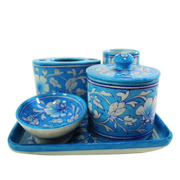 Bathroom Essential Set - Blue Pottery