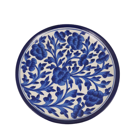 Snack Plate Blue Pottery - Min Ayn Home Home Decoration