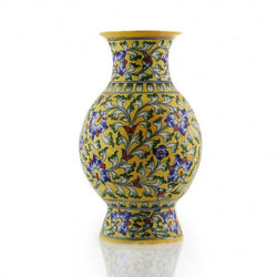 Vase Blue Pottery Yellow
