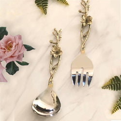Floral Spoon and Fork