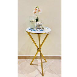 "Marble Round Inlay 12"" Side Table"