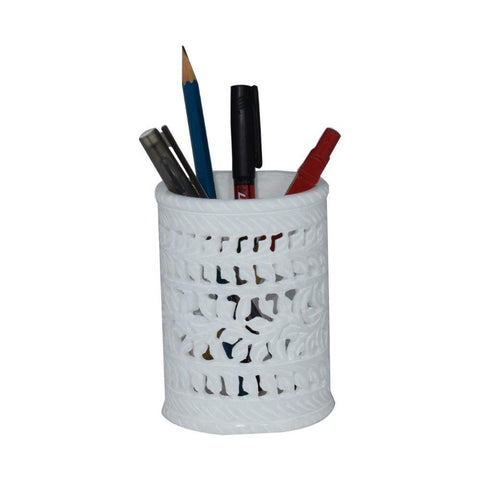 Marble Pen Holder White - Min Ayn Home Home Decoration