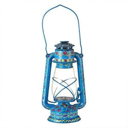 Hand Painted Lantern Blue