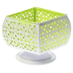 Metal Candle Holder White Green