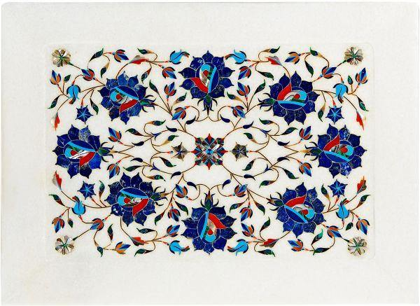 Marble Inlay Tray Blue