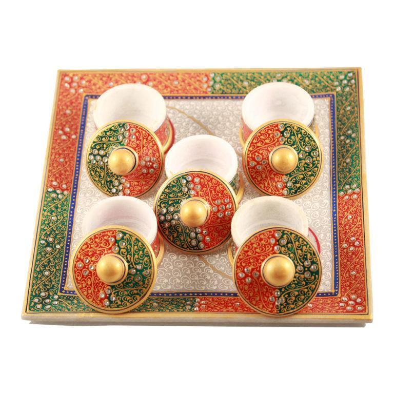 Marble Plate With Marble Bowls - Min Ayn Home Home Decoration