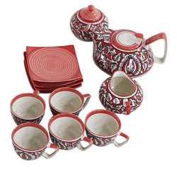 Tea Set with 6 cups - Red & White
