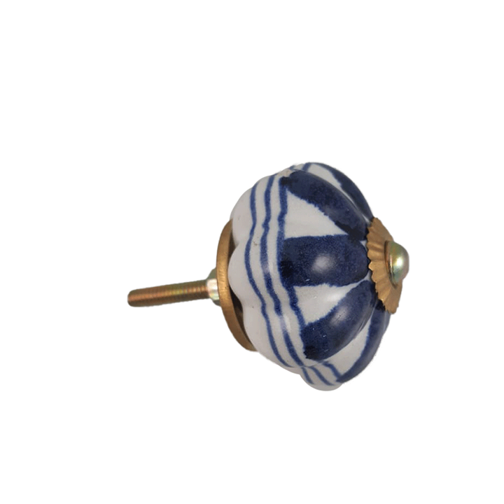 Vintage Ceramic Knob Blue White Design