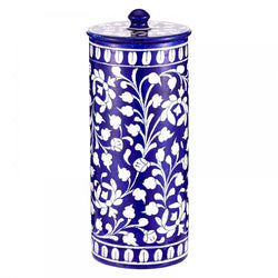 Blue pottery food jar