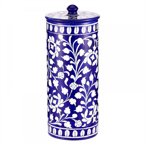 Blue Pottery Jar - Min Ayn Home Home Decoration