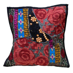 Black & Red Floral Cushion Cover
