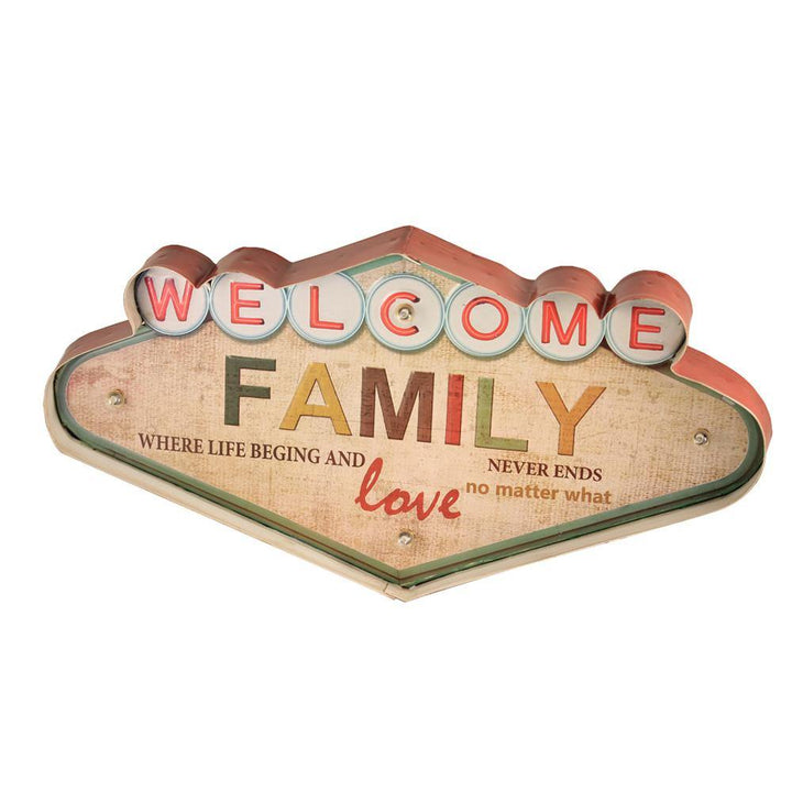 Metal Welcome Wall Decor With Lights with Family Design