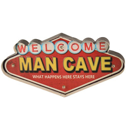 Metal Welcome Wall Decor With Lights - Man Cave