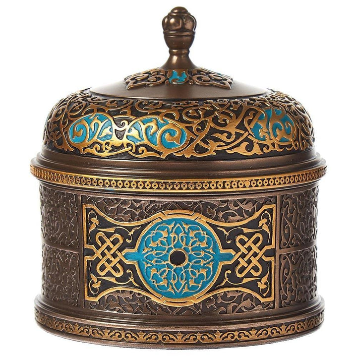 Metal Arabesque Round Trinket Box