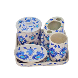 Bathroom Set - White and Blue
