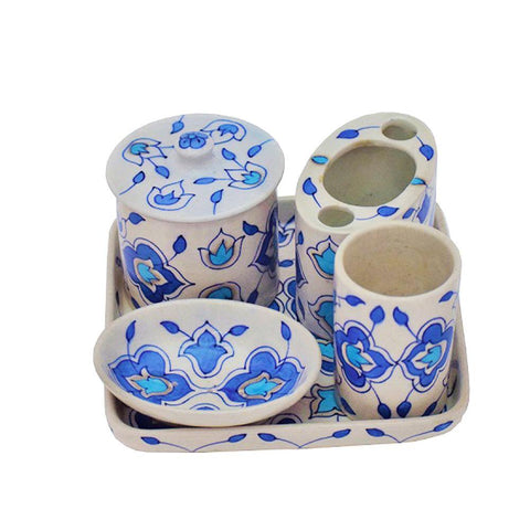 Bathroom Set - White and Blue - Min Ayn Home Home Decoration