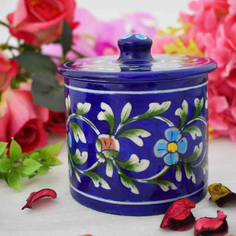 Blue Pottery Decorative Jar - Min Ayn Home Home Decoration