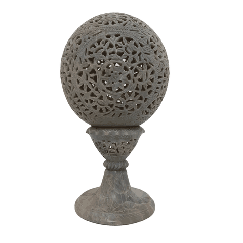 "Marble Candle Holder Ball With Pedestal 6"" - Min Ayn Home Home Decoration"