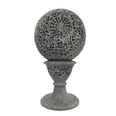 Marble Candle Holder Ball With Pedestal - Min Ayn Home Home Decoration