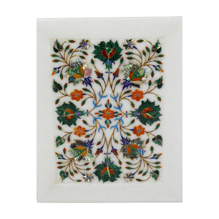 Marble Inlay Plate With Flowers Design