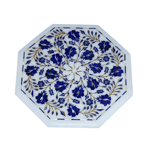 Marble Plate With Blue Design - Min Ayn Home Home Decoration