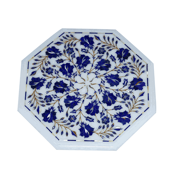 Marble Plate With Blue Design