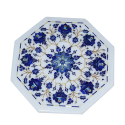 Marble Inlay Plate With Blue Flowers Design