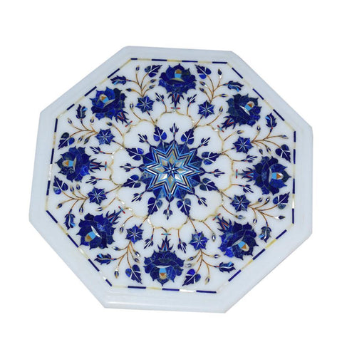 Marble Inlay Plate With Blue Flowers Design - Min Ayn Home Home Decoration