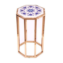 Marble Side Table with 8 Flowers Design