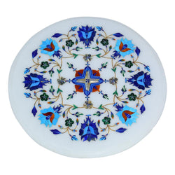 Marble Blue Inlay Round Plate - Tray