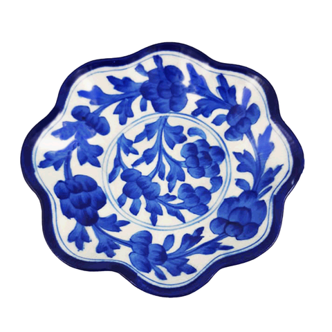 Snack Plate Blue Pottery - Blue Floral - Min Ayn Home Home Decoration