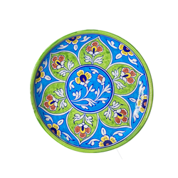 Blue Pottery Salad Plate flower design