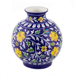 Blue Pottery Vase Flower Design