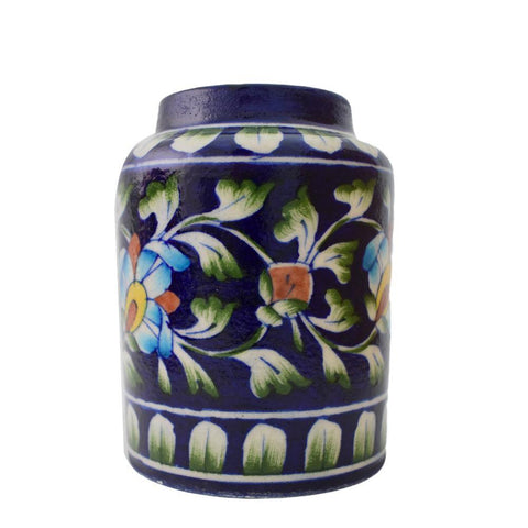 Blue Pottery Floral Planter - Min Ayn Home Home Decoration