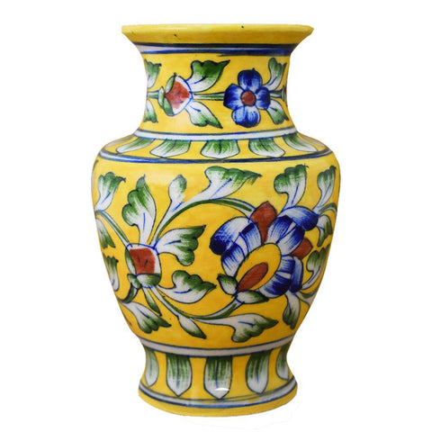 Blue Pottery Yellow Vase - Min Ayn Home Home Decoration