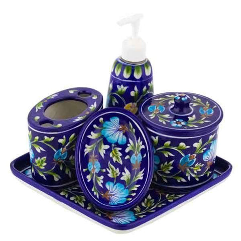 Bathroom Set - Blue Pottery - Min Ayn Home Home Decoration