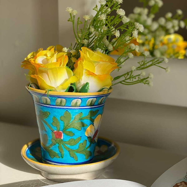 Ceramic Floral Planter - Min Ayn Home Home Decoration
