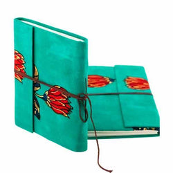 Handmade Diary Green Notebook With Red Flower Design