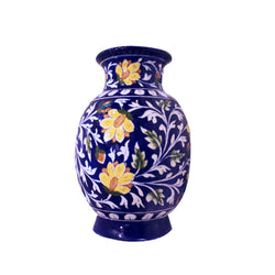 Vase Blue Pottery Floral - Home Accessories