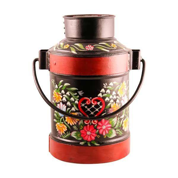 Decorative Iron Milk Can Red Black - Garden Decor