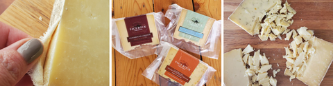 three pictures showing Face Rock Clothbound Cheddar. One with rind pulling away, one with three flavors in package, one with three clothbound with crumbles of cheese