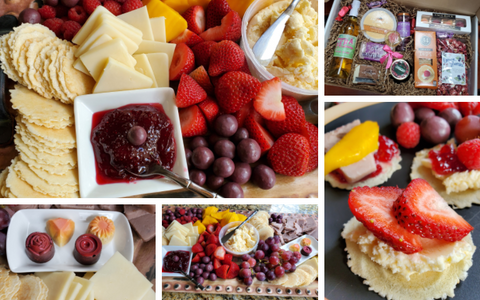 a grid showing different views of a Sweet and Sassy cheese board