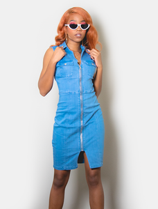 Trinity V-Neck Denim Dress