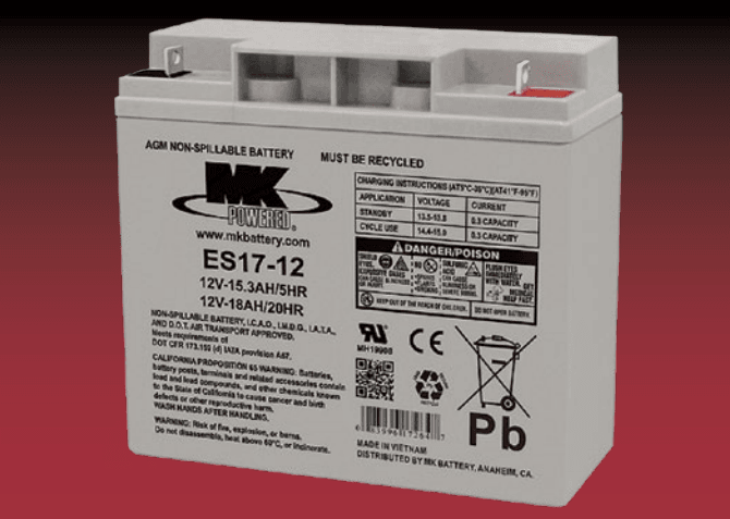 Small Sealed 12 Volt Battery ES17-12