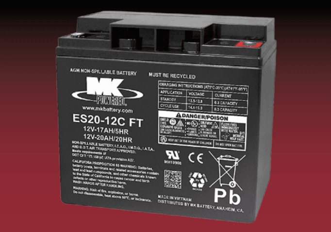 Small Sealed 12 Volt Battery ES20-12C FT