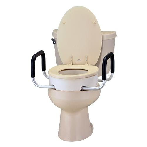 Elongated Toilet Seat Riser with Arms